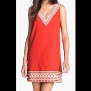 kate spade Laureen Embroidered Linen Red Dress